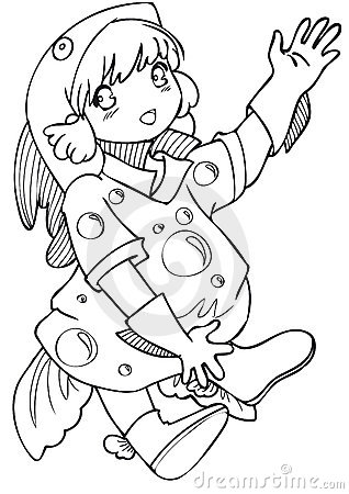 BW - Manga Kid with a Fish Costume