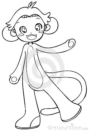 BW - Manga Kid with a Monkey Costume