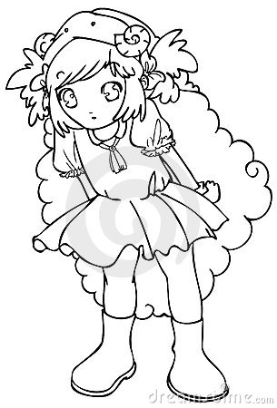 BW - Manga Kid with a Sheep Costume