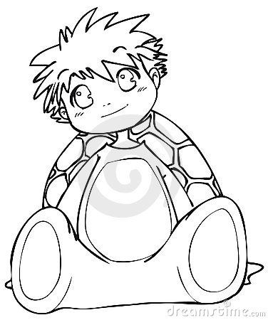 BW - Manga Kid with a Turtle Costume