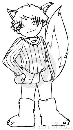 BW - Manga Kid with a Wolf Costume