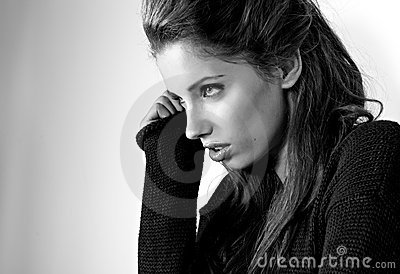 BW portrait of attractive brunette