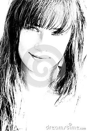 Bw portrait of beautiful girl