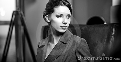 BW portrait of a young business woman