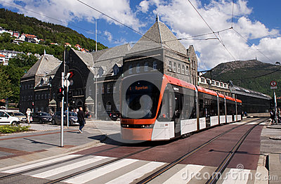 Bybanen light rail in Bergen, Norway Editorial Photography