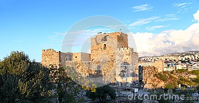 Byblos Crusader Castle at Sunset, Lebanon