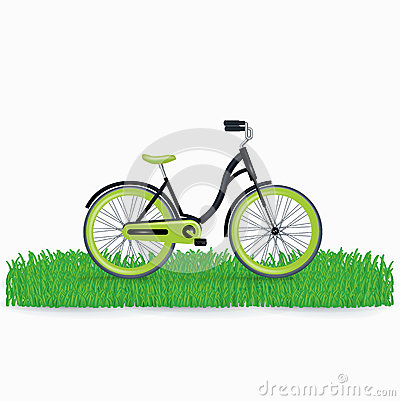 Bycicle on grass isolated on white