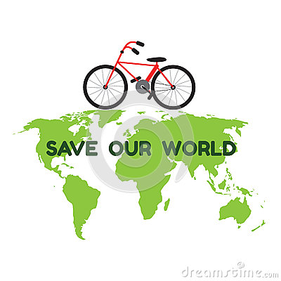 Free Bycicle On Green World Map And Word Save Our World For Environme Stock Photography - 57641342