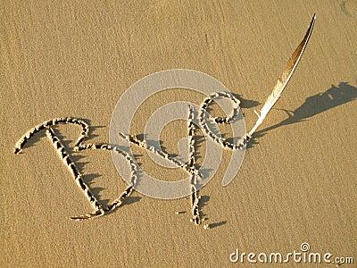 Bye written in sand