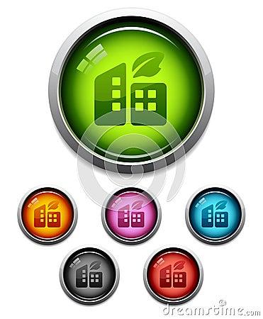 Byggnader button den glansiga symbolen
