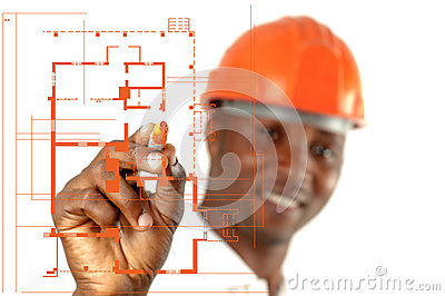 Byggnadsarbetare Sketching Blueprints
