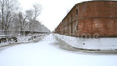 Bypass Canal in Kronstadt. stock video footage