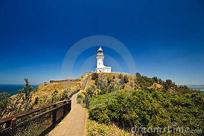 Byron Bay Lighthouse Silhouetted in Blue Sky