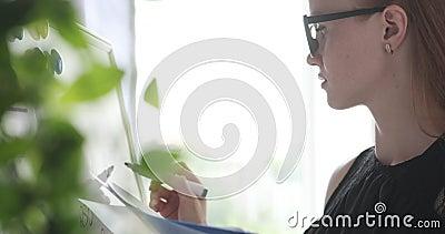 Cálculo fazendo executivo fêmea no whiteboard do escritório vídeos de arquivo