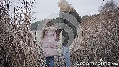 Cámara siguiendo a una mujer caucásica adulta caminando hacia el lago o río a través de arbustos Hermosa madre y linda almacen de video
