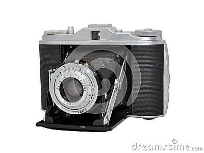 Cámara vieja de la foto de la película - telémetro, lente plegable