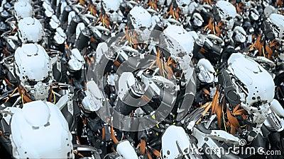 A câmera voa após um pelotão de soldados de marcha do robô em uma nave espacial Animação cinemático realística super da ficção ci ilustração royalty free