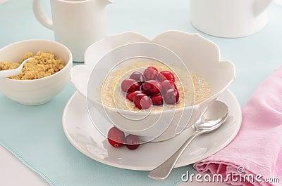 Céréale déchiquetée de blé avec des canneberges