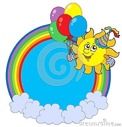 Círculo del arco iris con el sol del partido