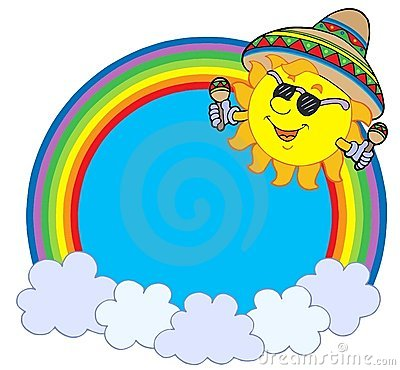 Círculo del arco iris con el sol mexicano