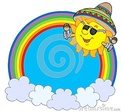 Círculo do arco-íris com sol mexicano