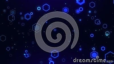 Código de fondo de tecnología digital Hexagon azul abstracto número de superficie futurista corriendo stock de ilustración