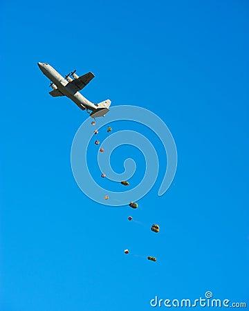 C-130 Cargo Drop Editorial Photography