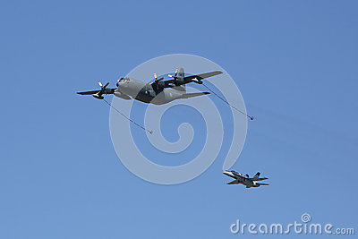 C-130 Hercules Air Refueling Demo Editorial Stock Photo