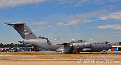 C-17 Globemaster III Aircraft Prepares for Flight Editorial Stock Image
