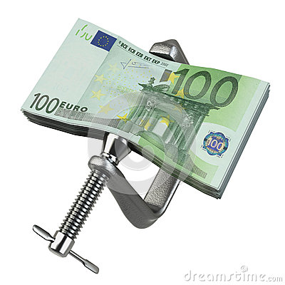 C clamp squeezing Euro currency