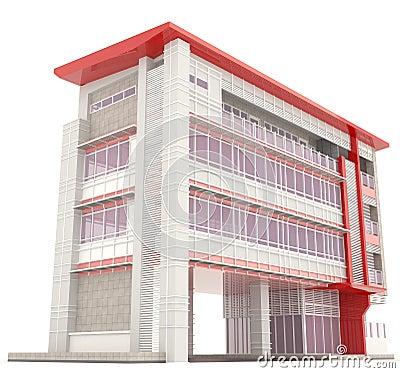 C t de l 39 ext rieur moderne d 39 immeuble des bureaux 3d for Immeuble bureau moderne