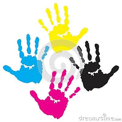 C y m k hand prints