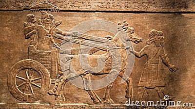 A caça do rei Efeito animado, movente do relevo do palácio de Assurbanipal, Assyria filme