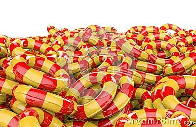 Caçoa a pilha inflável dos anéis