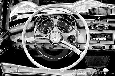 Cab Mercedes-Benz 190 SL (Black and White) Editorial Photography