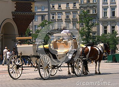 Cab in the old city in Krakow Editorial Stock Photo