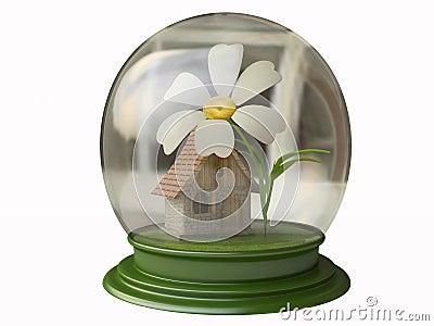 Cabaña mágica y una flor en un globo de la nieve stock de ...