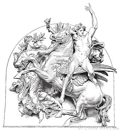 Caballo antiguo de la ilustración del vector con el jinete