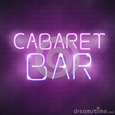 Free Cabaret Bar Neon Sign On The Brick Wall Royalty Free Stock Photography - 90627747