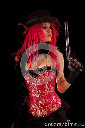 Free Cabaret Girl In Pink Corset Holding Gun Stock Photo - 12370150