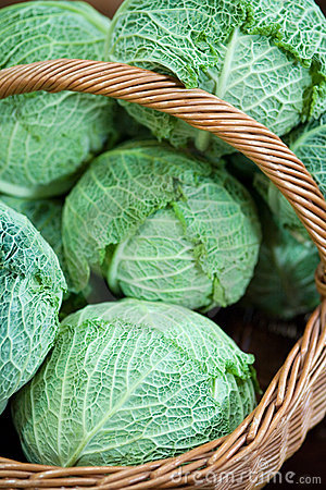 Cabbage in a basket