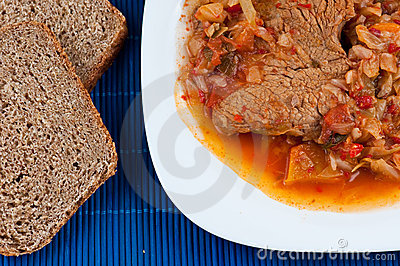 Cabbage with meat and bread