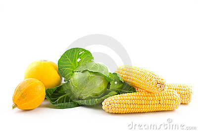 Cabbage, pumpkins and corns