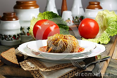 Cabbage rolls stuffed with meat.