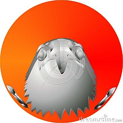 Cabeça da águia no nascer do sol, ilustração