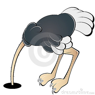 Cabeça escondendo da avestruz