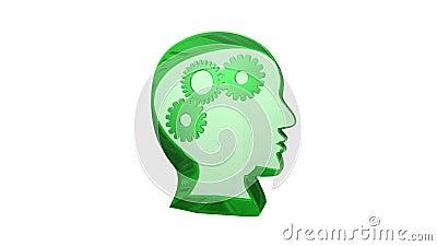 Cabeça humana com o fundo branco das engrenagens animado, verde ilustração stock