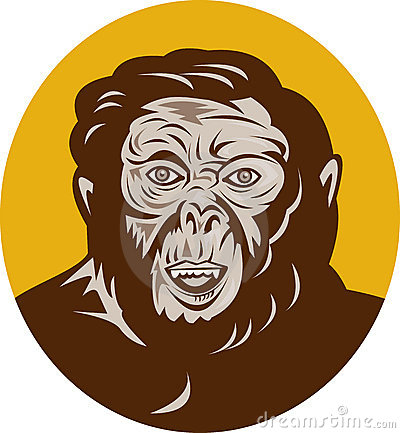 Cabeça pré-histórica do homem do caveman