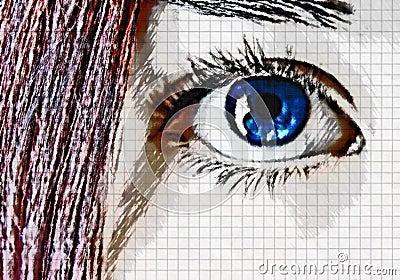 Cabelo dos olhos azuis e do vermelho