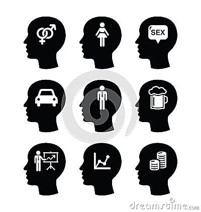 Cabeza, iconos de los pensamientos del hombre fijados
